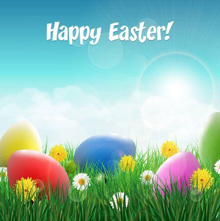 huevos de pascua: Huevos de Pascua en un campo de hierba con flores.