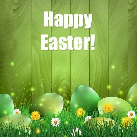 Green Easter eggs with a green wooden background.