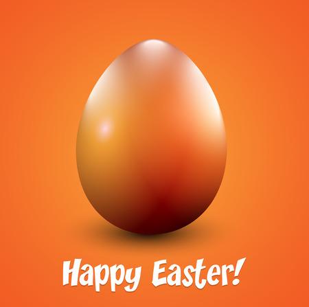 An orange shiny Easter egg. Vector illustration.