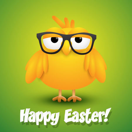 fuzzy: Cute little chicken in black eye glasses on green background, Easter card. Illustration