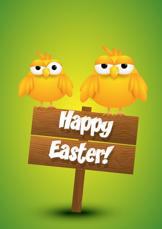 easter sign: Two yellow chicks standing on a wooden Easter sign. Vector illustration.