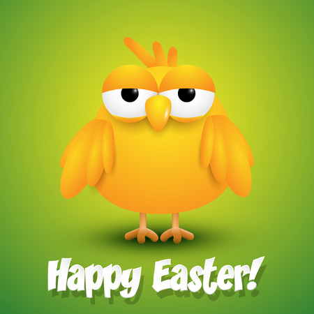 waster: Cute chick wishing happy Easter. Vector illustration Illustration