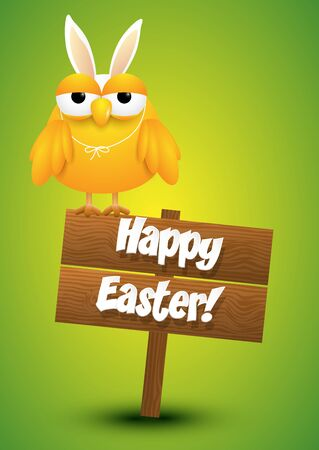 Cute chicken whit a bunny ears costume standing on a wooden sign, Easter card, vector illustration. Illustration
