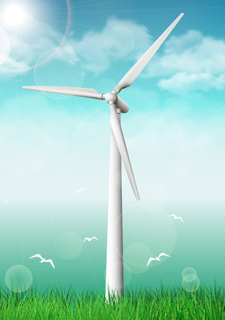 Wind turbine near the sea.Vector illustration.