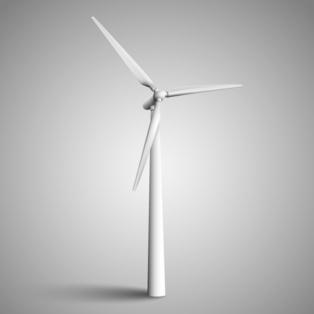 Isolated wind turbine, vector illustration.