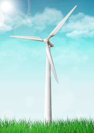Wind turbine on a grass field sunny day. Vector illustration.