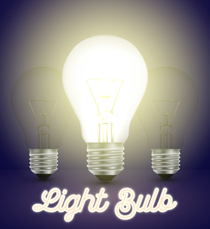 Tree light bulbs on a blue background with a logo, Vector illustration.
