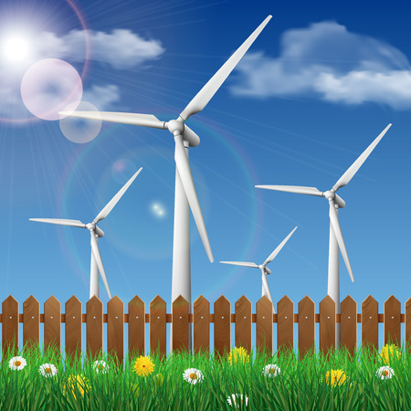 Wind turbines on a grass field behind a wooden fence. Ecology concept vector illustration.