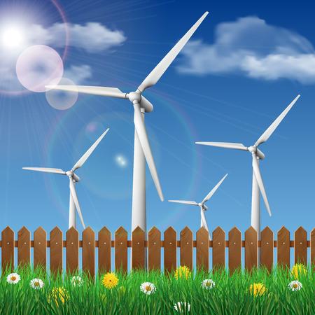 Windkraftanlagen auf einer Wiese hinter einem Holzzaun. Ökologie-Konzept Vektor-Illustration.