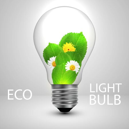 Light bulb with leafs and flowers ecology concept. Vector illustration.