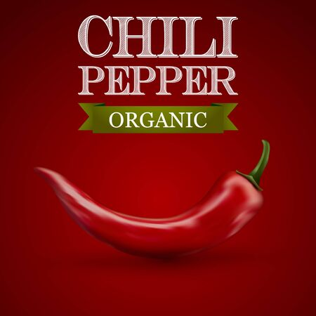 chili pepper: Red hot chili pepper on a red background. Vector illustration. Illustration