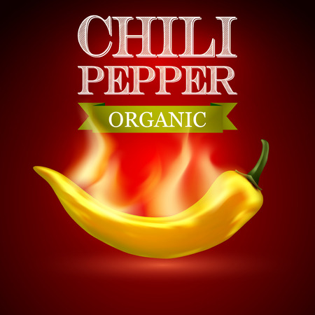 organic peppers sign: Yellow hot chili pepper on a red background. Vector illustration. Illustration