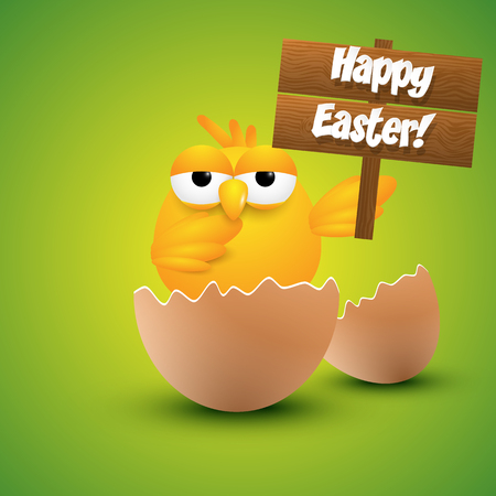 easter sign: Small chick hatching from an egg, holding a happy Easter sign. Vector illustration.