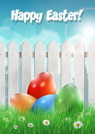 ester: Easter card with Easter eggs and white wooden fence. Vector illustration.