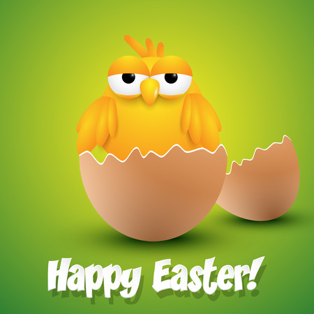 Small chick hatching from an egg, ester greeting card. Vector illustration.