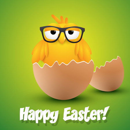 ester: Small chick with hipster glasses hatching from an egg, ester greeting card. Vector illustration.