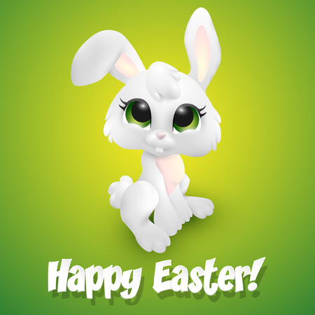 bunny: green, conceptual, symbol, white, background, smile, spring, holiday, character, vector, decoration, isolated, funny, elements, cute, cartoon, season, happy, painted, card, toy, kid, white background, children, rabbit, wreath, bunny, easter bunny, easter