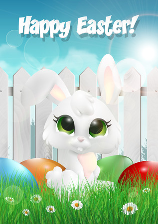 kids background: Easter bunny siting on a grass among Easter eggs, white wooden fence. Vector illustration. Illustration
