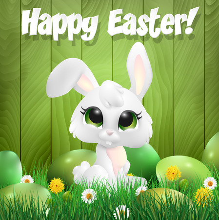 ester: Easter bunny sitting among ester eggs, wooden background. Vector illustration.