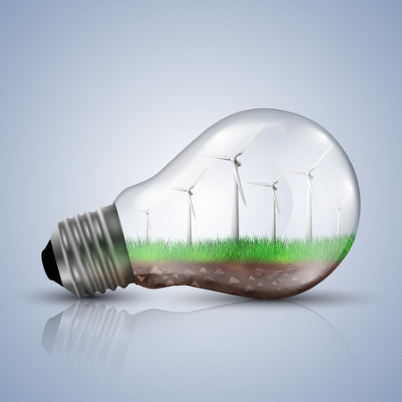 turbines: Wind turbines in a light bulb. Ecology concept illustrations.