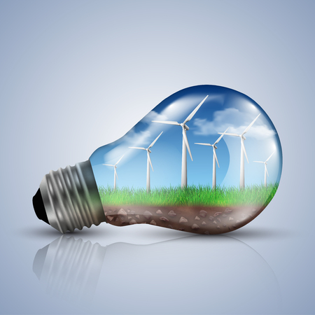 electric blue: Wind turbines with a clear sky in a light bulb. Ecology concept illustrations. Illustration