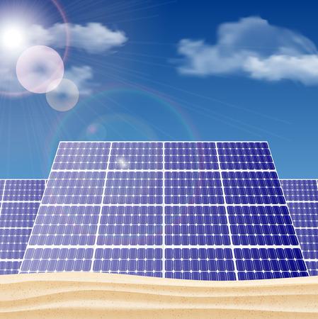 solar power: Solar panels in the desert, ecology concept illustration.