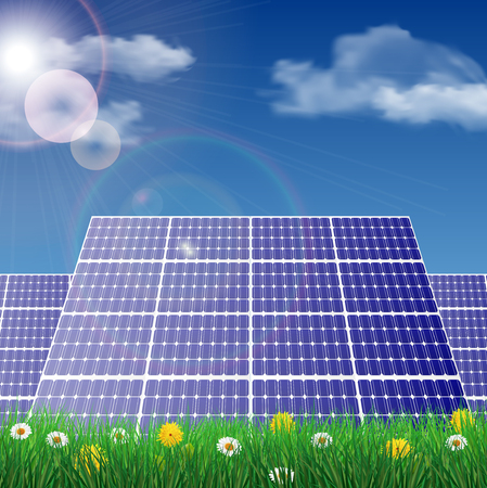 panels: Solar panels in a field, ecology concept illustration.