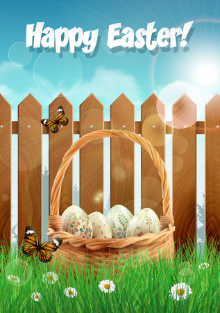 picket: Easter basket with Easter eggs on a field with picket fence. illustration.