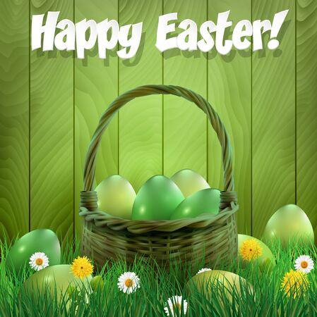easter basket: Easter basket with green Easter eggs, wooden background. illustration. Illustration