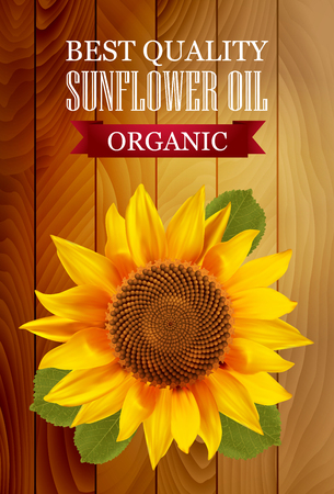 in bloom: Sunflower oil label with a wooden background. illustration.