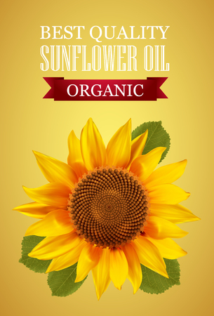 oil crops: Sunflower oil label with  a yellow background. illustration.