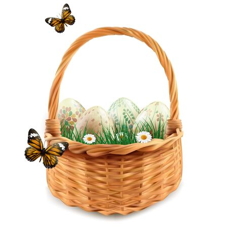 Realistic Easter eggs with patterns in a basket. illustration.