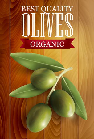 ingredients: Green olive label with a wooden background. illustration.