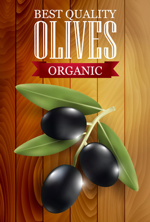 olive: label with a wooden background for dark olives. illustration. Illustration