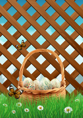 Easter basket with realistic Easter eggs on a grass filed with garden fence. illustration.
