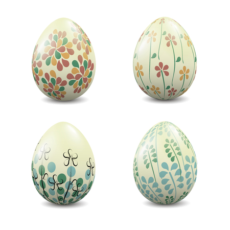 A set of realistic Easter eggs isolated on white. illustration. Illustration