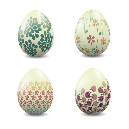 A set of four Easter eggs with patterns. illustration. Çizim