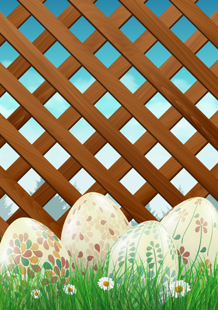 Easter eggs in the grass, garden fence in the background. illustration.