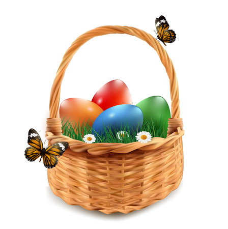 Easter basket with colorful Easter eggs, isolated in white.
