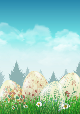Easter eggs on a field with small white flowers. illustration.