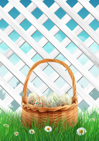 holliday: White garden fence with Easter basket grass and flowers, spring background. illustration.