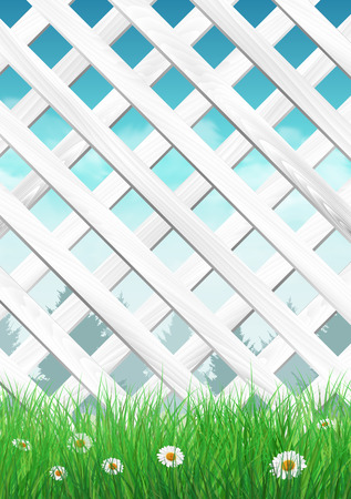 White garden fence with grass and flowers, spring background. illustration. Çizim