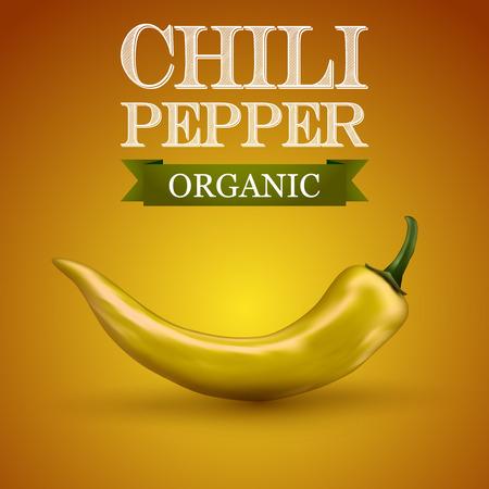 chili pepper: Chili pepper yellow on a yellow, illustration.