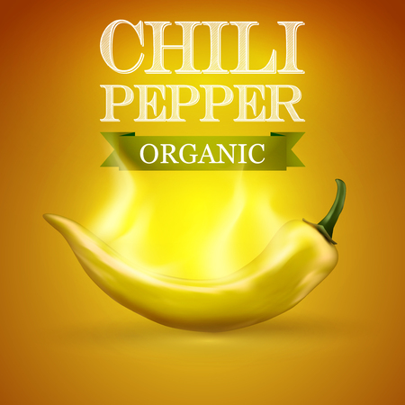 organic peppers sign: Yellow Chili pepper burning hot, illustration.