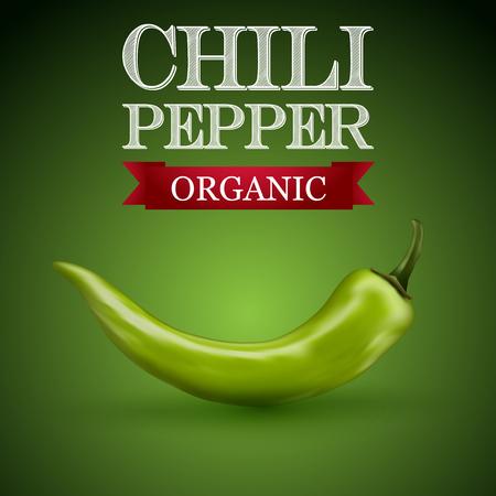 Groene Spaanse peper met een groene achtergrond.