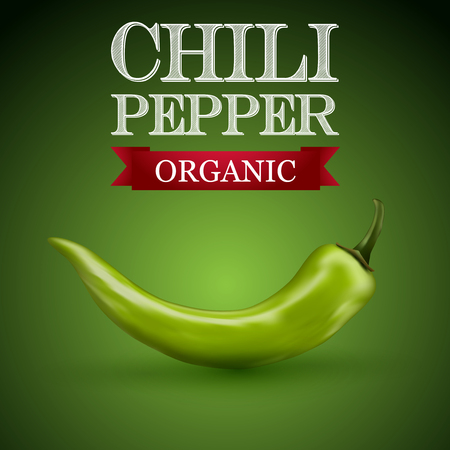 Green chili pepper with a green background. Illustration