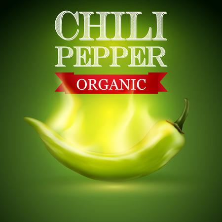 chili pepper: Green burning chili pepper on a green background, illustration. Illustration