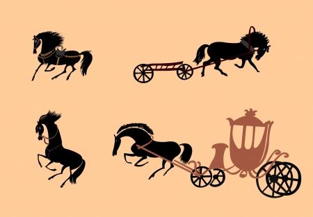 4 horses in vector format