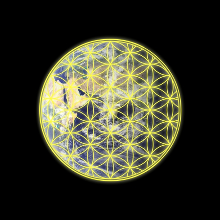 Flower of life on the Eastern hemisphere of the Earth Stock Photo