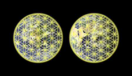 Flower of life on the western and eastern hemisphere of the Earth Stock Photo